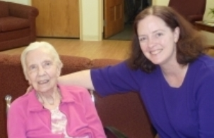 The author with her mother, Judy, in her nursing home
